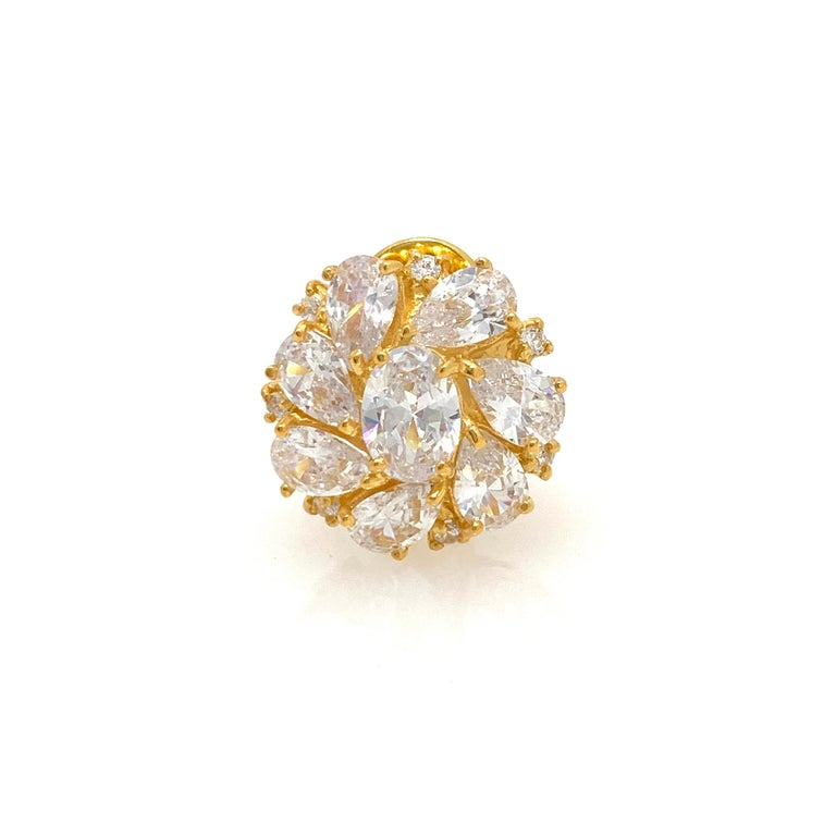 Faux Diamond Cluster Vermeil Earrings In New Condition For Sale In Los Angeles, CA