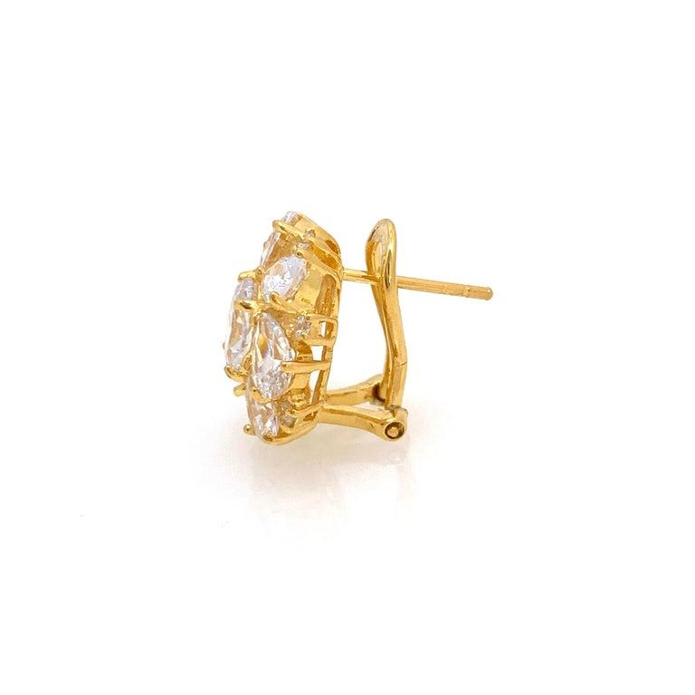 Women's Faux Diamond Cluster Vermeil Earrings For Sale