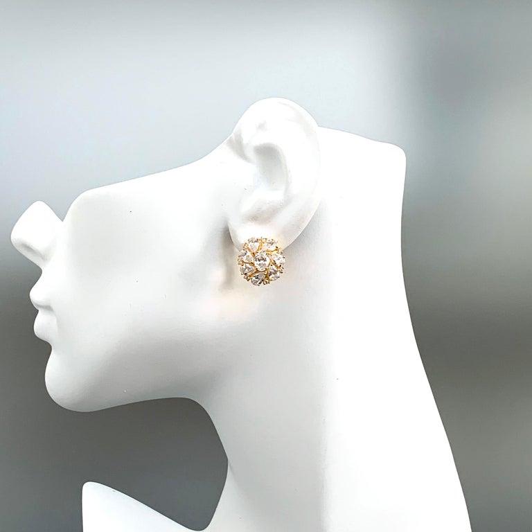 Faux Diamond Cluster Vermeil Earrings For Sale 1