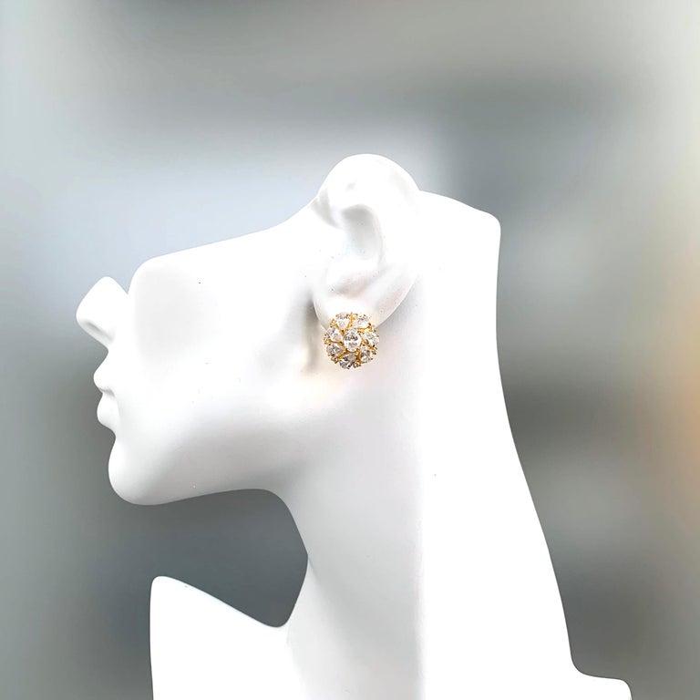 Faux Diamond Cluster Vermeil Earrings For Sale 2