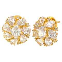 Faux Diamond Cluster Vermeil Earrings