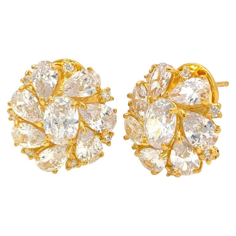 Faux Diamond Cluster Vermeil Earrings For Sale