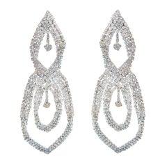 Faux Diamond Rhinestone Chandelier Large Earrings 1970s