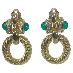 Faux Emerald & Crystal Rhinestone Twisted Gold Metal Door Knocker Earrings