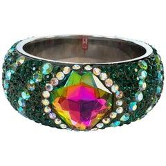 Faux Emerald Rhinestone Crystal Bangle Bracelet