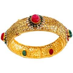 Faux Emerald Ruby Gold Bangle Bracelet