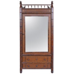 Faux English Bamboo, Mirror and Caned Cabinet Made for Bloomingdale's