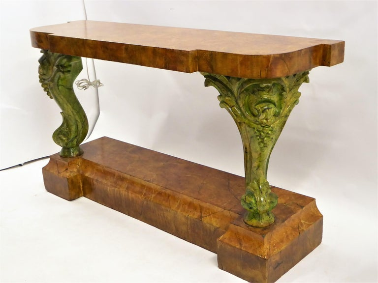 Late Victorian Faux Finish Romantic Victorian Rococo Grand Piano Legged Console For Sale