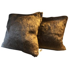 Faux Fur Cushions Color Brown Melange with Cashmere Chocolate Brown at the Back