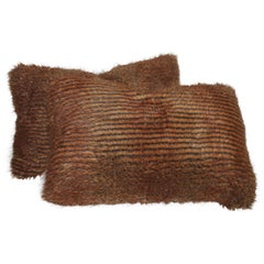 Faux Fur Pillows with Silk Backings, Pair