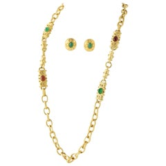 Faux Gemstone Gold-tone Earrings and Station Chain Link Necklace