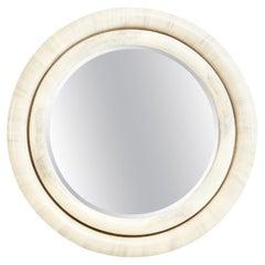 Faux Goatskin Mirror in the Manner of Karl Springer, 1980