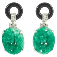 Faux jade and onyx and paste 'Cartier' style earrings, Kenneth Jay Lane, 1970s