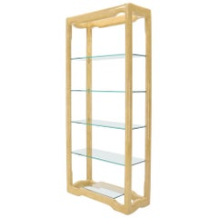 Faux Large Parchment Tall Étagère Shelving Unit