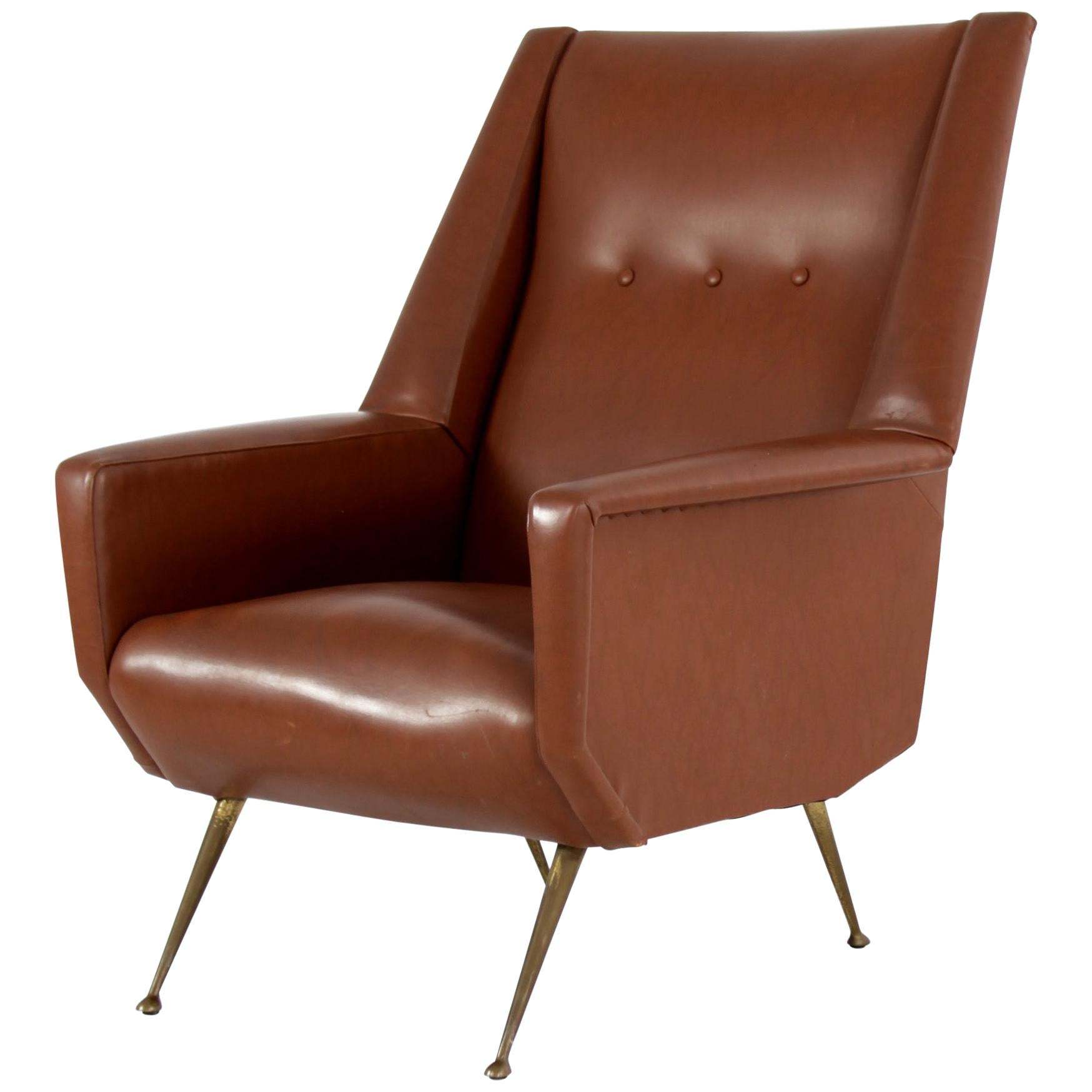 Faux Leather Armchair with Brass Legs, Italy, 1950s