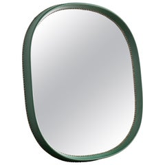 Faux Leather Green Mirror by Otto Schulz