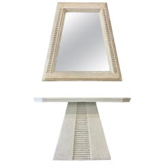 Faux Limestone Mesoamerican Console Table and Mirror