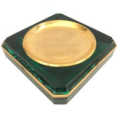 Faux Malachite and Brass Vide Poche