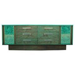 Faux Malachite Modern Brutalist Sideboard or Cabinet