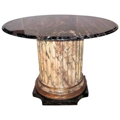 Faux Marble Fluted Center Table with Black and Gold Veined Marble Top