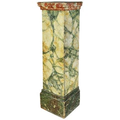 Faux Marble Painted Wood Pedestal or Cabinet