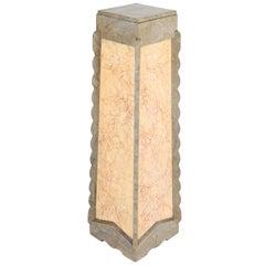 Faux Marble Wooden Art Deco Amsterdam School Pedestal, 1920s