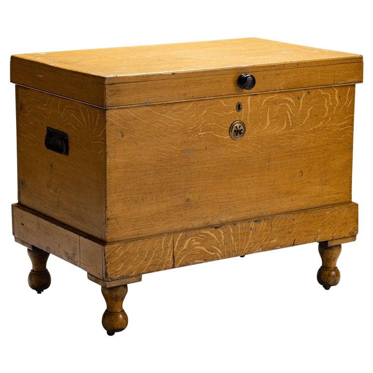 Faux Oak Chest, England circa 1890 For Sale
