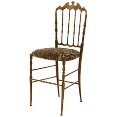 Faux Ocelot Seat Brass Chiavari Chair