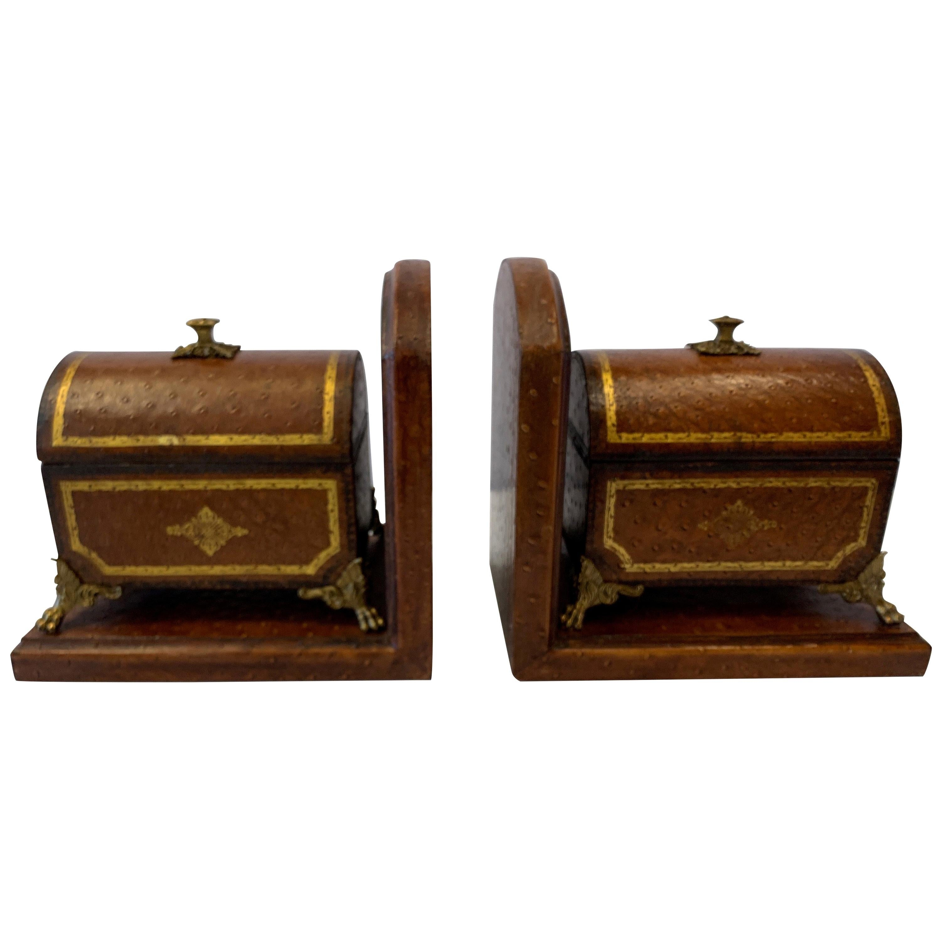 Faux Ostrich Leather Maitland Smith Bookends with Decorative Boxes That Open