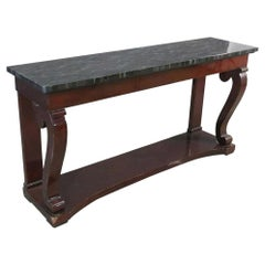 Faux Paint Decorated Marble Finished Regency Mahogany Console Table