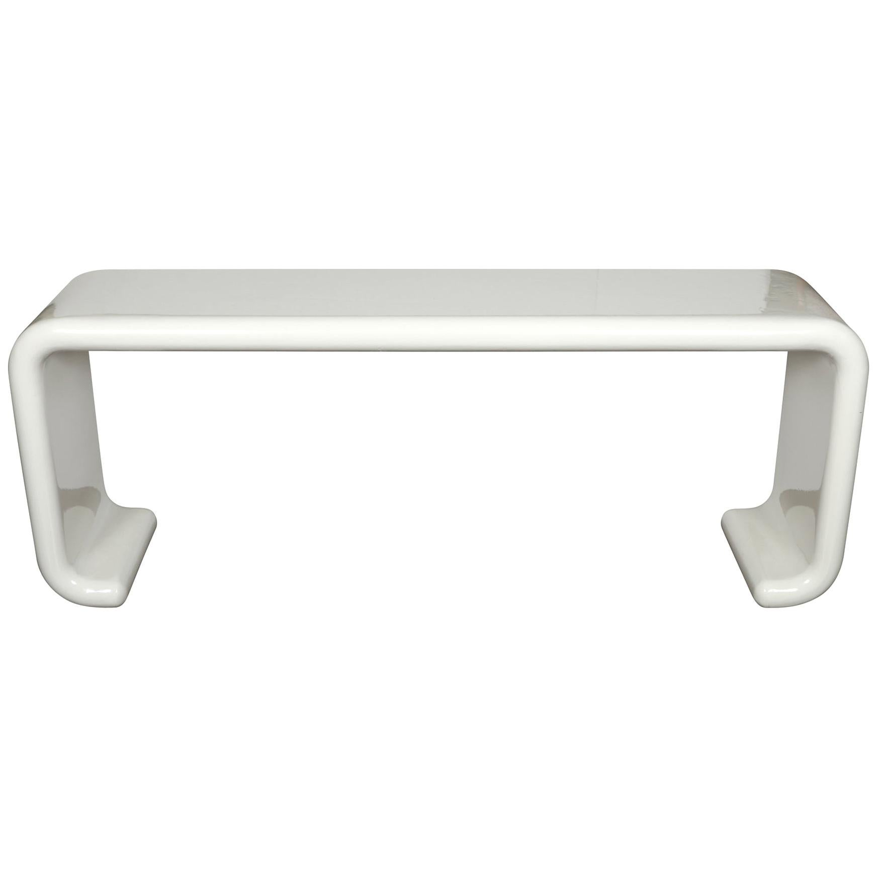 White Karl Springer style painted waterfall console