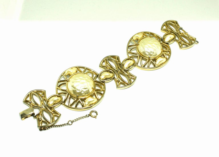 Contemporary Faux Pearl Bracelet and Clip Earrings Suite by Shiapirelli, 1950's For Sale