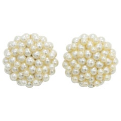 Faux Pearl Cluster Round Earrings, Mid 1900s Statement Clip Ons
