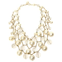 Faux Pearl Lucite and Brass Bib Multi Strand Collar Necklace Vintage