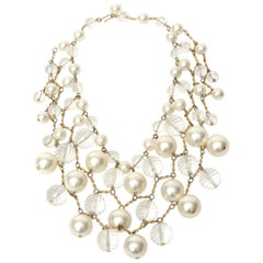 Faux Pearl, Lucite and Brass Bib Multi Strand Collar Necklace Vintage