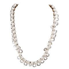 Faux Pearls and Siver Tone Choker NecklaceLigia Dias