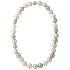 Magnificent French Faux Tahiti Shades 18mm 24 Inch Opera Length Pearl Necklace