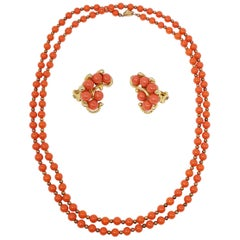 Faux Salmon Coral Bead Rope Necklace and Clip on Earrings in Gold, Mid 1900s
