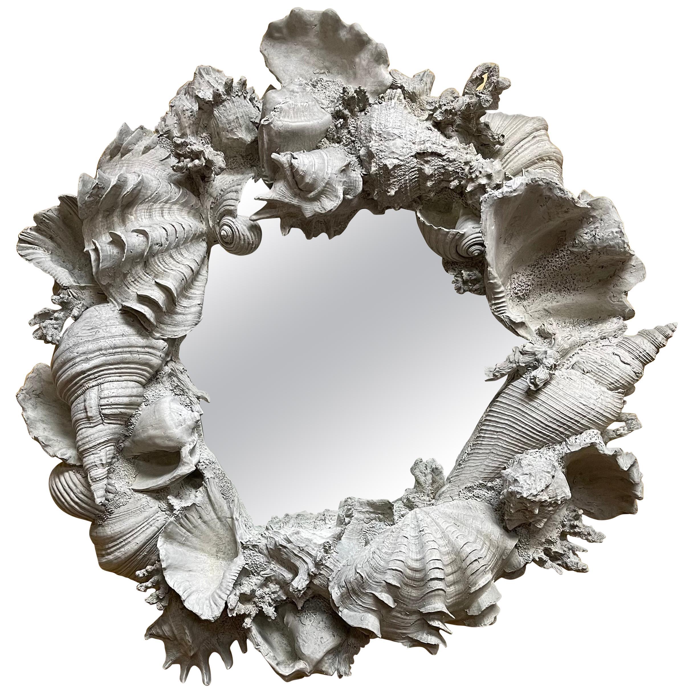 Faux Seashell Encrusted Mirror in Molded Fiberglass