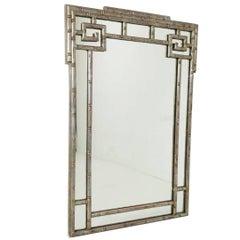 Faux Silver Leaf Greek Key Mirror
