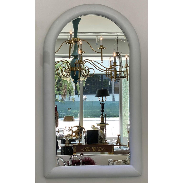 Faux Snakeskin Upholstered Mirror in the Style of Karl Springer For Sale 2