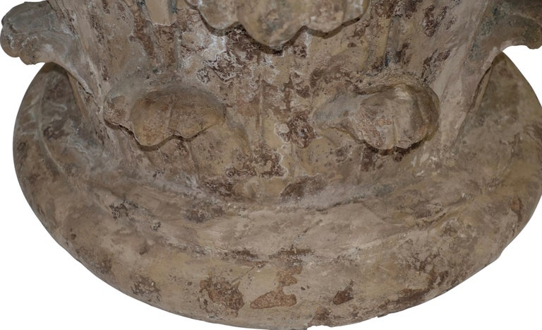 Molded Faux Stone Architectural Column Capital Low Table For Sale