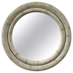 Faux Stone Laminated Double Ring Round Convex Mirror