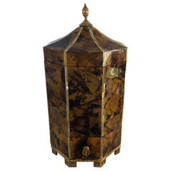 Faux Tortoise and Mother of Pearl Lidded Box in the Style of Maitland Smith
