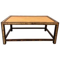 Faux Tortoise Bamboo and Rattan Coffee Table