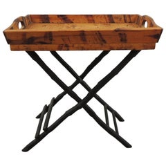 Faux-Tortoise Bamboo Folding Dinks Cart or Folding Tray Table