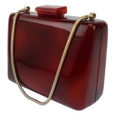 Faux Tortoise Lucite Box Handbag, 1980's