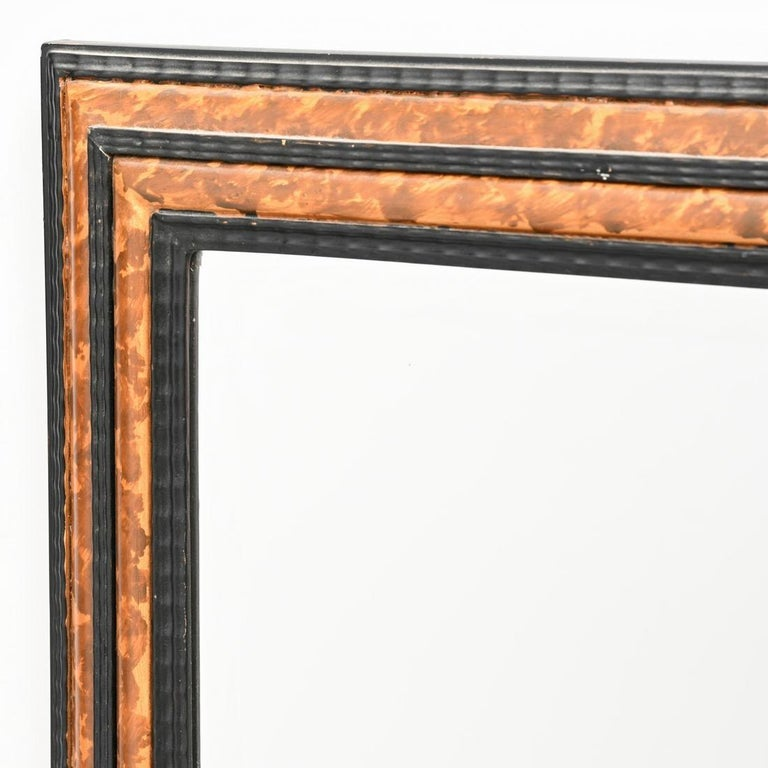 20th Century Faux Tortoise Regency Mirror with Black Detail