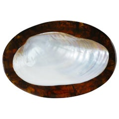 Faux Tortoise Shell and South Sea Pearl Resin Serving Tray
