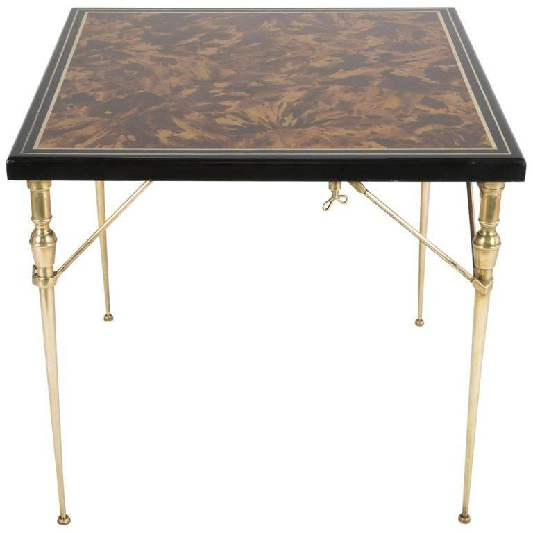 Faux Tortoise Shell Black Lacquer and Gilt Games Table with Bronze Folding Legs